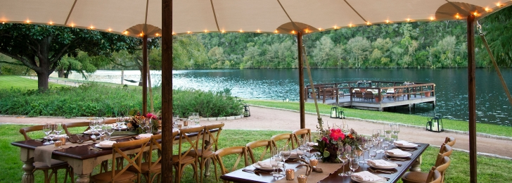 Table for guests in Lake Austin Spa Resort