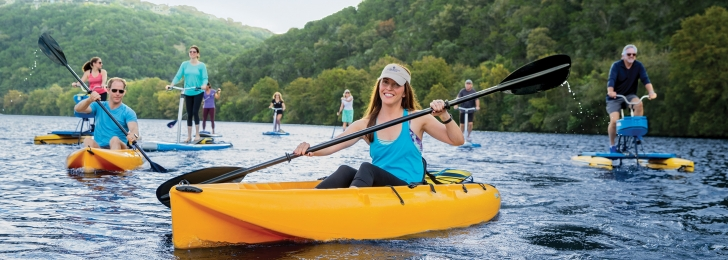 Canoeing in Lake Austin Spa Resort