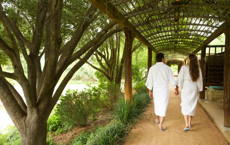 A strolling couple after spa procedures