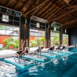 Floating yoga in the pool barn