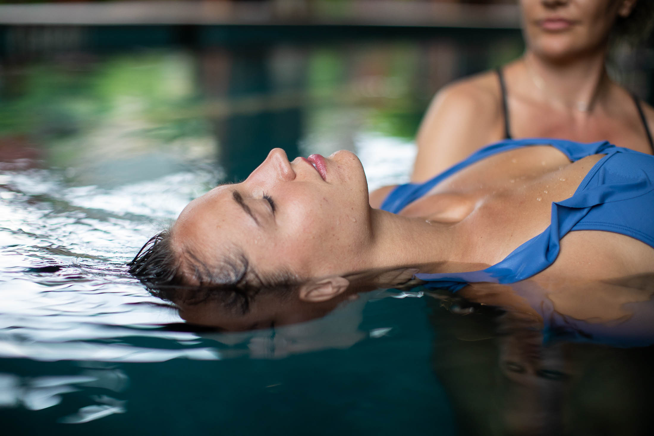Aqua Stretch-Myofascial Release treatment in the Pool Barn at Lake Austin Spa Resort.