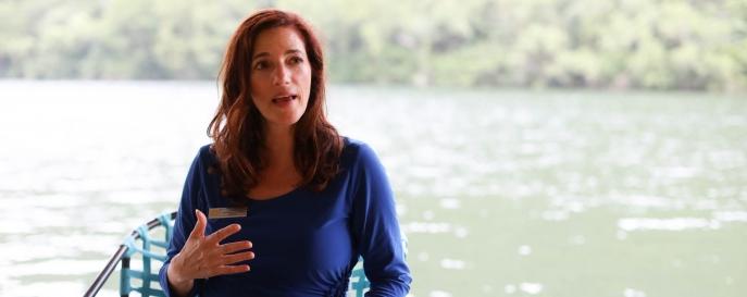 Julie Haber speaking on dock