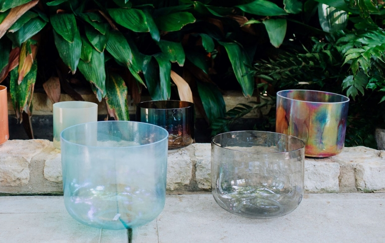 Crystal Bowls in front of Garden