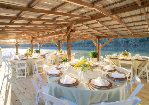 Corporate Dinner Tables on Boat Dock