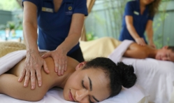 Two women getting a back massage at Lake Austin Spa Resort