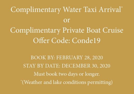 Complementary Water Taxi Arrival Notice for Meeting Planners