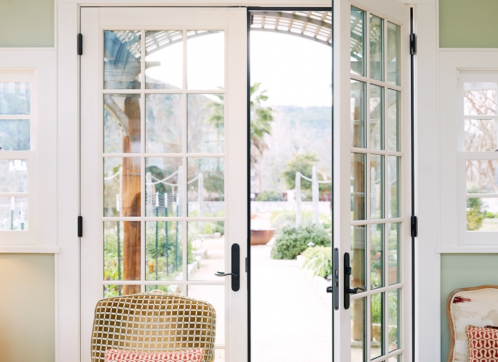 French doors to the library.
