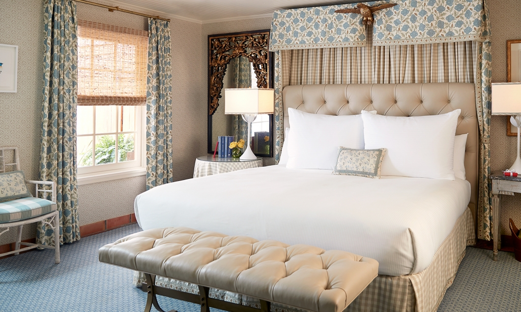 King sized bed in the Lady Bird Presidential Suite.