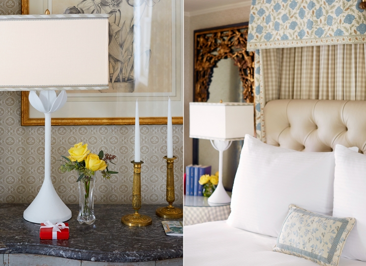Split image of side table with lamp, candles and fresh flowers and a king size bed in the Lady Bird Presidential Suite.