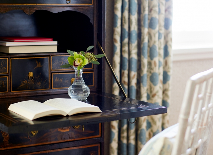 Writing desk inside of the Lady Bird Presidential Suite.