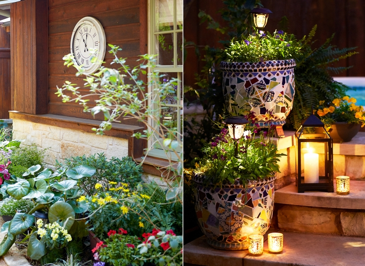 Split image of large outdoor garden clock and candles upon hot tub steps.