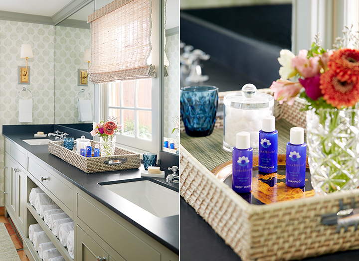Split image of the double sink bathroom vanity and signature bath amenities in the Premier Hot Tub Cottage.