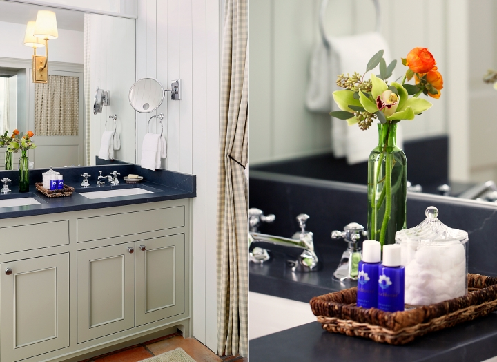 Split image of double sink bathroom vanity and fresh flowers and signature bath amenities.