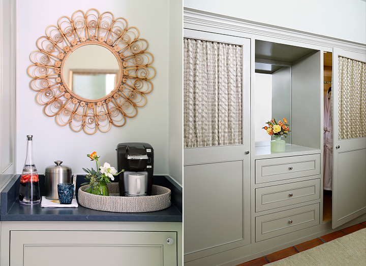 Split image of the Keurig coffee station and large closets in the Signature room.