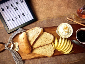 Servboard platter with cheese and bread