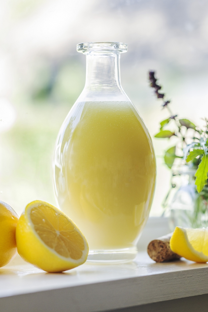 meyer lemon vinaigrette in a glass carafe